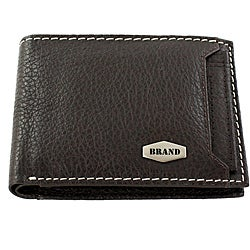 Brand Brown Leather Bi-fold Wallet