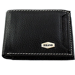 Brand Black Leather Bi-fold Wallet