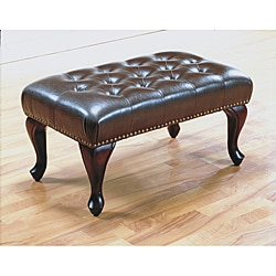 Brown Bi-cast Leather 30-inch Bench