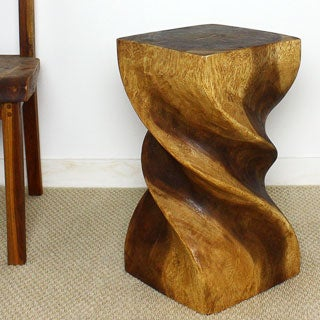 Triple Twist Stool 12 x 22 Monkey Pod Wood (Thailand)