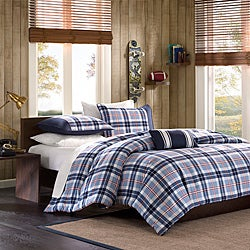 Mizone Alton Plaid Blue 4-piece Full/Queen Comforter Set