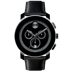 Movado Bold Black Leather Chronograph Watch