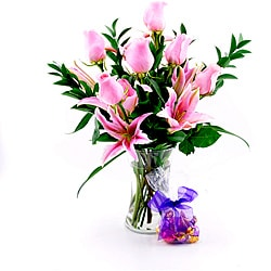 Sweets in Bloom Favorite Pink Roses & Lilies Bouquet