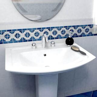 SomerTile Castle Cobalt/ White Border Porcelain Mosaic Tile (Pack of 10)