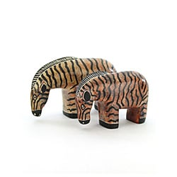 Large Hand-carved Black-and-tan Soapstone Zebra Sculpture (Kenya)