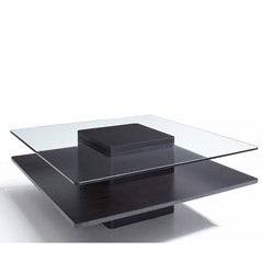 Glass/ Dark Coffee Wood 40-inch Coffee Table