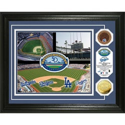 Dodger Stadium 50th Anniversary Gold & Infield Dirt Photo Mint
