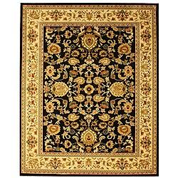Traditional Mahal Design Persian Black Rug (7'10 x 9'10)
