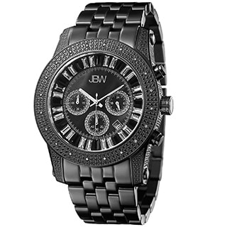 JBW Men's 'Krypton' Black JB-6219-L Chronograph Diamond Watch