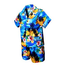 Boys' 2-piece Blue Tropical Hawaiian Cabana Set