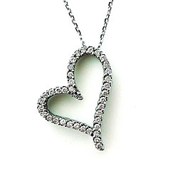 14k White Gold 1/2ct TDW Diamond Heart Necklace (G-H, SI1-SI2)