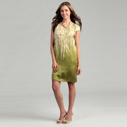 Kenneth Cole Women's Lime Palm Print Dress FINAL SALE