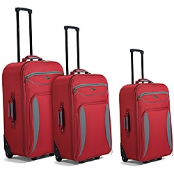 Benzi Red / Grey 3-piece Luggage Set