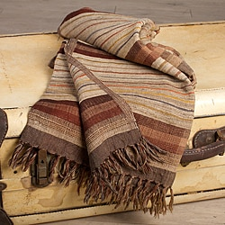 Auburn Stripe Silk and Wool Throw (India)