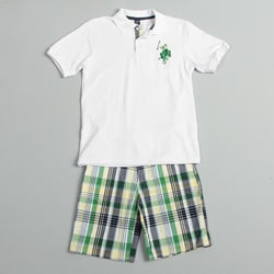 US Polo Association Boy's Shirt and Plaid Short Set
