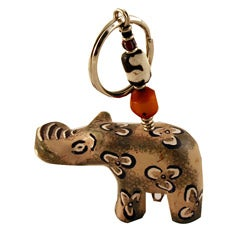 Worldstock Handmade Soapstone Hippo with Bead Keychain (Kenya)