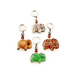 Swahili Imports Soapstone Elephant with Bead Keychain (Kenya)