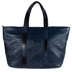 Vintage Reign 'Nomi' Blue Leather Tote Handbag
