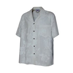Hibiscus Shadows Boys White Hawaiian Aloha Shirt