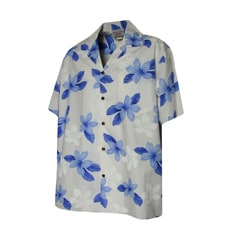 Hibiscus Shadow Boys Blue Hawaiian Aloha Shirt