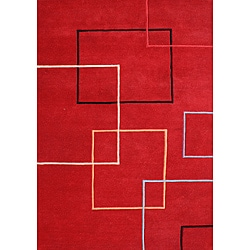 Hand-tufted Andy Red Wool Rug (9' x 12')