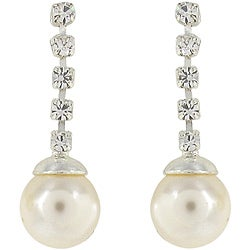 Roman Silvertone Faux Pearl and Crystal Dangle Earrings