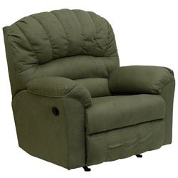 Contemporary Padded Sage Microfiber Rocker Recliner