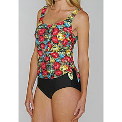 Island Pearls Missy Red Floral Faux 1-piece Tankini