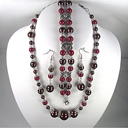 Chocolate and Dark Cherry Pearl Wedding Jewelry Set