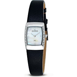 Skagen Women's Rectangle Black Leather Strap Watch