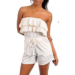 Stanzino Women&#39;s Cream Ruffle Strapless Romper