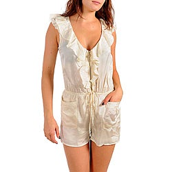 Stanzino Women&#39;s Ivory Ruffled Sleeveless Romper