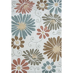 Hand-tufted Chalice Neutral Floral Rug (7'9 x 9'9)