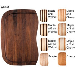 Kobi Custom Fit Maple Cherry or Walnut Wood Cutting Board For Ticor Kitchen Sinks