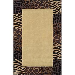 Hand-tufted Monrovia Beige/ Black Area Rug (5' x 8')