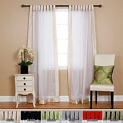 Dupioni Border Sheer Voile Tab Top Curtain Pair