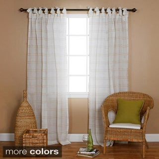 Aurora Home Faux Linen Tie-top 84-inch Curtain Panel Pair