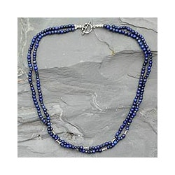 Sterling Silver 'Agra Azure' Lapis Lazuli Necklace (India)