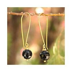 Gold Overlay 'Songkran Moon' Onyx Dangle Earrings (Thailand)