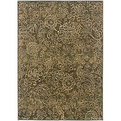 Sydney Brown/Beige Transitional Floral Area Rug (9'9