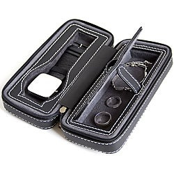Black Soft Touch Compact Travel Watch Case