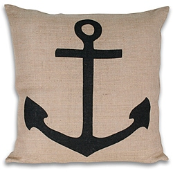 Thro Anchor Printed Jute Pillow (20 x 20)