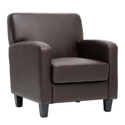 Peacock Brown Leather Modern Club Chair