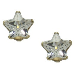 10kt Star Cubic Zirconia 4mm Stud Earrings