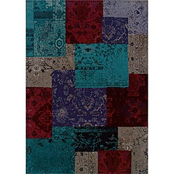 Gray/ Red Transitional Area Rug (9'10 x 12'10)