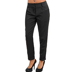 Stanzino Women's Black Cuffed Pleated Pants