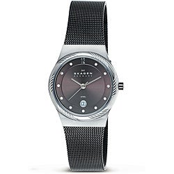 Skagen Women's Silvertone Twisted Topring Charcoal Grey Mesh Watch