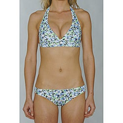 Island World Blue Floral Junior's Halter & Hipster Bikini Bottom