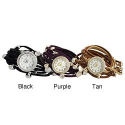 Geneva Platinum Women's Rhinestone Multi-strand Wrap-around Watch