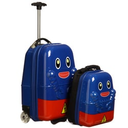 Trendykid Travel Buddies Rusty Robot 2-piece Kids Carry On Luggage Set